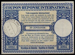COLOMBIA / COLOMBIE London Type XVIu  35 CENTAVOS Int. Reply Coupon Reponse Antwortschein IAS IRC O BOGOTA 14.4.58 - Kolumbien