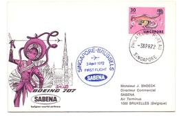 Enveloppe - Pub / Reclame Sabena Eerste Vlucht Premier Vol Singapore Brussels 03.04.1972 - Avion Boeing 707 - Singapour (1959-...)