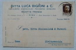 ROMA - DITTA LUCA BIGIONI & C. SALAGIONE FORMAGGIO PECORINO ROMANO RICOTTA FRESCA 1930 X CIVITAVECCHIA - Non Classificati