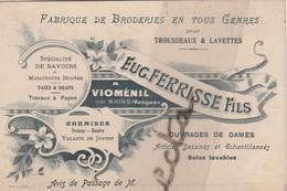 Carte Commerciale Eug. FERRISSE Fils / VIOMENIL Par Bains Les Bains 88 Vosges/ Broderies - Cartes
