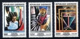 Gabon, 1996, Paintings By Moundounga, Art, MNH, Michel 1331-1333