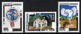 Gabon, 1996, Children's Drawings, Art, MNH, Michel 1313-1315