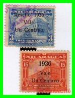 NICARAGUA  2 SELLOS  AÑO 1914  -  1939 SOBRECARGADOS - Nicaragua