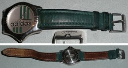 Rare Montre à Quartz ADIDAS, Bracelet Cuir, Sport, Water Resistant - Montres Publicitaires