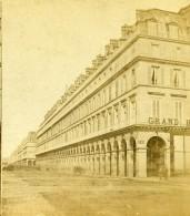 France Paris Rue De Rivoli Grand Hotel Ancienne Photo Stereo 1870 - Stereoscopic