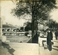France Paris La Seine Bouquinistes Sur Les Quais Ancienne Photo Stereo SIP 1900 - Stereoscopic