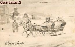 CARTE VIENNOISE BONNE-ANNEE TRAINEAU EDITION P.T.L. ART DE VIENNE STYLE M.M. VIENNE AUTRICHE - Neujahr