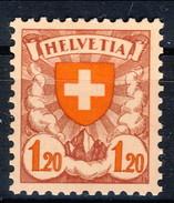 Svizzera 1924 N. 209C F. 1.20 Carta Patinata Lucida E Bianca MLH Cat. € 67 - Svizzera