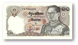 THAILAND - 10 Baht - ND ( 1980 ) - Pick 87 - UNC. - Sign. 63? - Serie 7 D - King Rama IX - 2 Scans - Thailand