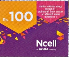 GSM MOBILE PHONE PREPAID USED MINI RECHARGE CARD RS.100 NCELL MOBILE NEPAL - Nepal