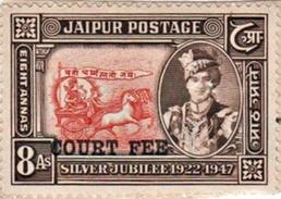 INDIA JAIPUR PRINCELY STATE 8-ANNAS COURT FEE STAMP 1947-1948 GOOD/USED - Jaipur