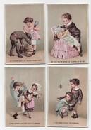 CHROMO Scènes Commentées Couple Enfants Citrouille Coupe Sur Pied Scarabée Araignée Longue Vue Querelle (6 Chromos) - Trade Cards