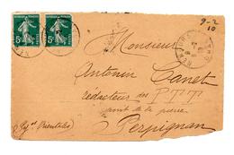 DEVANT D'ENVELOPPE DE NEMOURS POUR PERPIGNAN DU 09/02/1910 - Algeria (1924-1962)