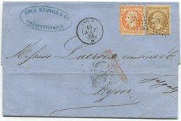 N°21+23 + Ancre + Cachet Paquebot Indus  / Lettre De Constantinople (turquie) Pour Lyon - 1862 Napoleon III