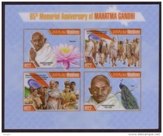 Maldives 2013 Gandhi Sheet - IMPERF Plastic S/S - Rare And Unusual