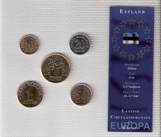 ESTONIE      BLISTER      5 PIECES      1992 - 94 - 2001 - 02 - 03      UNC - Estonie