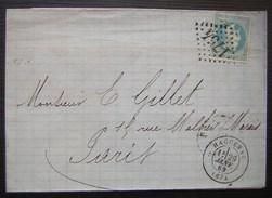 1869 Haguenau Lantzenberg Commerce De Houblons, Lettre Pour Paris - Poststempel (Briefe)