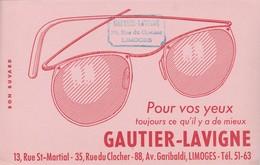 - 87 -  BUVARD PUBLICITAIRE Lunettes GAUTIER-LAVIGNE à LIMOGES  - 008 - L