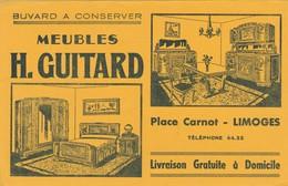 - 87 -  BUVARD PUBLICITAIRE Meuble H. GUITARD à LIMOGES - Léger Pli Au Centre  - 010 - Buvards, Protège-cahiers Illustrés