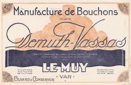 - 83 -  BUVARD PUBLICITAIRE Bouchons DEMUTH-VASSAS à LE MUY - Petite Déchirure à Droite - 020 - Buvards, Protège-cahiers Illustrés