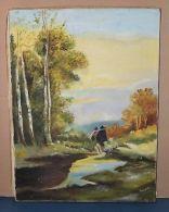 Peinture à L'huile Sur Toile Signée SIMONE - Paysage Bergers Et Moutons - Autres Collections