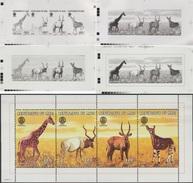 Mali 1998 Y&T 1128/31. 4 Films Positifs D'impression. Rotary Club. Animaux : Girafe, Addax, Kobe, Okapi