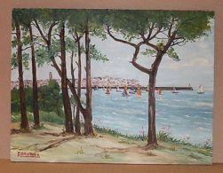 Peinture à L'huile Signée F GAUTHIER - Paysage Bord De Mer  Le Port De Camaret - Autres Collections