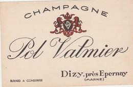 51 - BUVARD PUBLICITAIRE CHAMPAGNE POL VALMIER à DIZY, Près Epernay   - 025 - Buvards, Protège-cahiers Illustrés