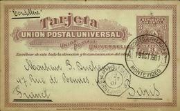 URUGUAY - Entier Postal De Montevideo En 1901 Pour La France , Oblitération Ligne De Bateau - A Voir - L 6144 - Uruguay