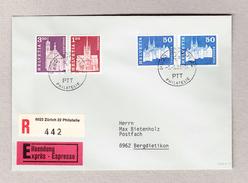 Schweiz Zu #417U Ungezähnt Mit Zusatzfrankatur Auf Express R-Brief Zürich 9.6.1988 - Schweiz
