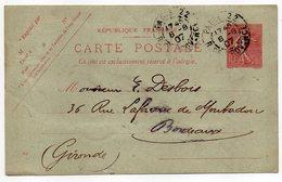 Entier-1907-CP Semeuse Lignée 10c Rose-cachet PARIS 22 Pour Bordeaux-33-format 140 Mm X 86 Mm-Librairie Ancien Temps 9° - Entiers Postaux