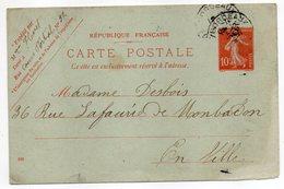 """Entier-1909-CP Semeuse 10c -de Bordeaux Pour Bordeaux-33-format 140 Mm X 90 Mm-mention """"EN VILLE"""" - Entiers Postaux"""