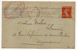 Entier-1913-CP Semeuse 10c-de PARIS 3 Pour Bordeaux-33--personnalisée CHRETIEN Librairie-cachet Mécanique PARIS 3 - Entiers Postaux