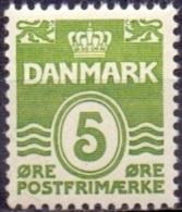 DENEMARKEN 1933-72 5öre Golflijn Zonder Harten GroenT I PF-MNH - 1913-47 (Christian X)