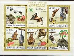 Comores MNH Bats Sheetlet And SS