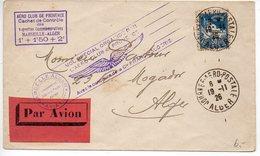 Algérie : Lettre 1er Vol De 1926 'Vol Spécial Marseille - Alger' (timbre Avec Dents Rouillées) - Algerien (1924-1962)