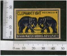 India 1950's Elephant Fight Brand Match Box Label Wildlife Animal # MBL197 - Matchbox Labels