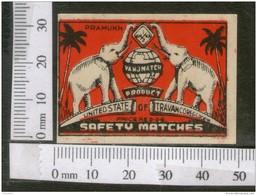 India 1950's Elephant Map Globe Brand Match Box Label Wildlife Animal # MBL160 - Matchbox Labels