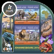 Togo 2016, Animals, Elephant, Bird, Lion, Rhino, Frog, 4val In BF