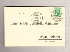 Schweiz Heimat TG HEILIGKREUZ Balkenstempel 19.11.1908 Bürglen Auf Firmen Postkarte - Suisse