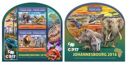 TOGO 2016 - UN Wildlife Conference, Rhinoceros, M/S + S/S. Official Issue.