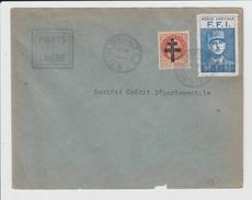 FRANCE - TIMBRES DE LA LIBREATION SUR ENVELOPPE - GRIFFE FFI - PARIS LIBERE - 1944 - Libération