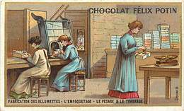 P274-chromo Chocolat Felix Potin -10,5cms X 6,5cms -metiers -metier -fabrication Des Allumettes  - - Félix Potin