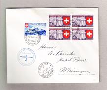 Schweiz 6.5.1939 Landesausstellung Meldeflug Brief Nach Meiringen Mit Zu#227 Und #225 In 4er-Block - Suisse