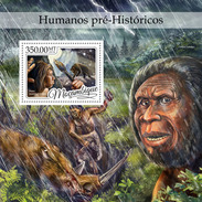 MOZAMBIQUE 2016 - Prehistoric Humans, Rhinoceros S/S. Official Issue