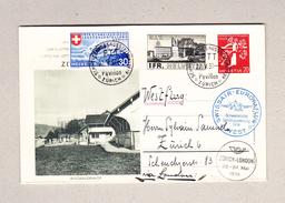 """Schweiz 22.5.1939 Schweiz Landesausstellung Zürich Swissair Westflug Auf Postkartenbrief Motiv """"Bergbauernhaus"""" - Suisse"""