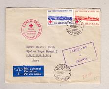 Schweiz 30.8.1939 Zürich Sonderpostflug Zürich-Genf Zensur Brief Nach Java Bandoeng - Suisse