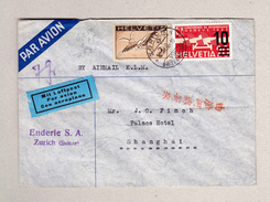 Schweiz Luftpost Zürich 20.11.1936 Brief Nach Shanghai - Poste Aérienne