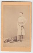 CDV Photo - Junger Mann Mit Hund - Dog Chien - Alte (vor 1900)