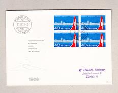 Schweiz Luftpost Zürich 29.8.1953 FDC Brief Mit Zu#313 Viererblock - Sonstige Dokumente